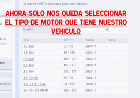 Selecccione el modelo de su vehículo